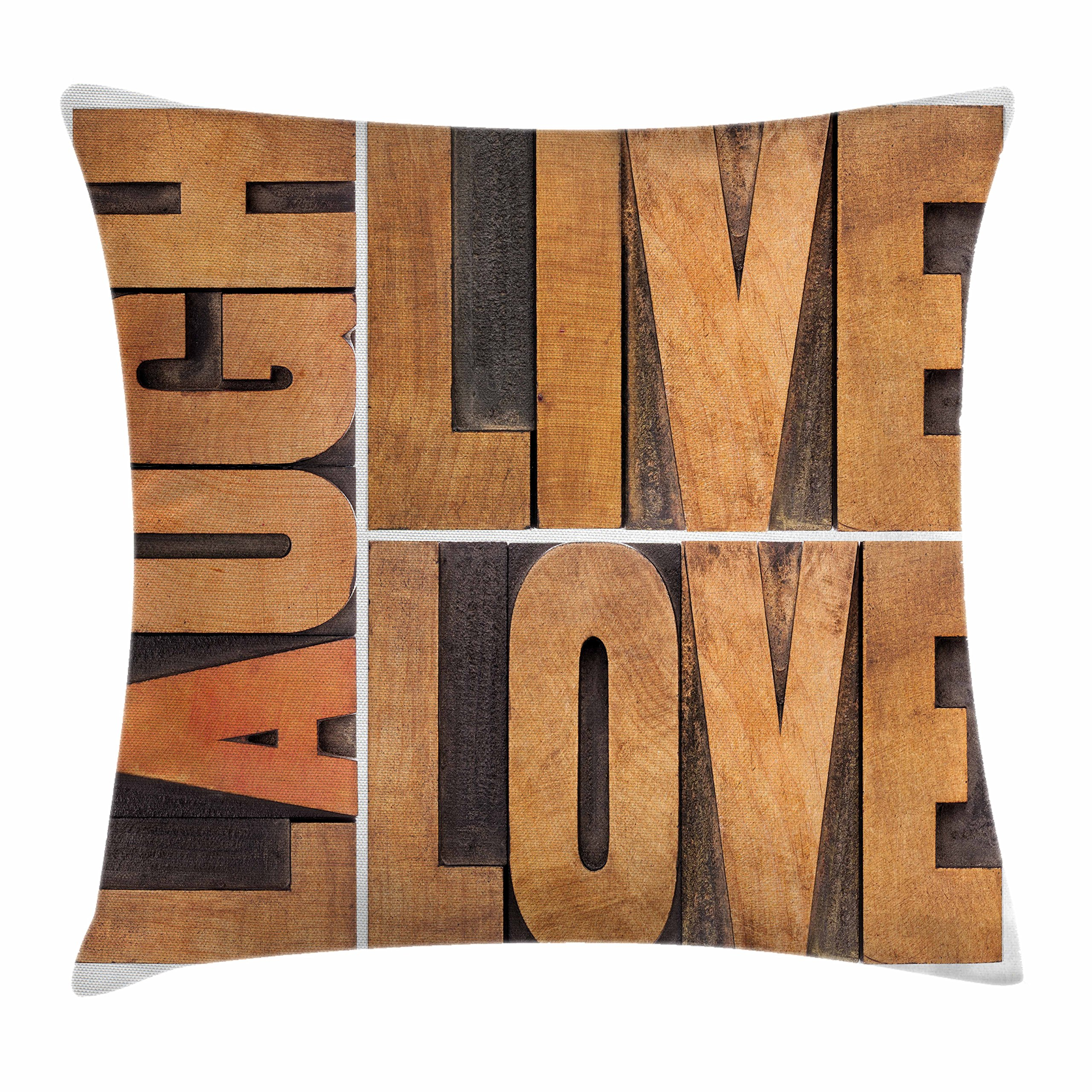 Ambesonne Live Laugh Love Decor Throw Pillow Cushion Cover, Macro Calligraphy Life Message Inspirational Digital Graphic, Decorative Square Accent Pillow Case, 20 X 20 Inches, Light Caramel Umber