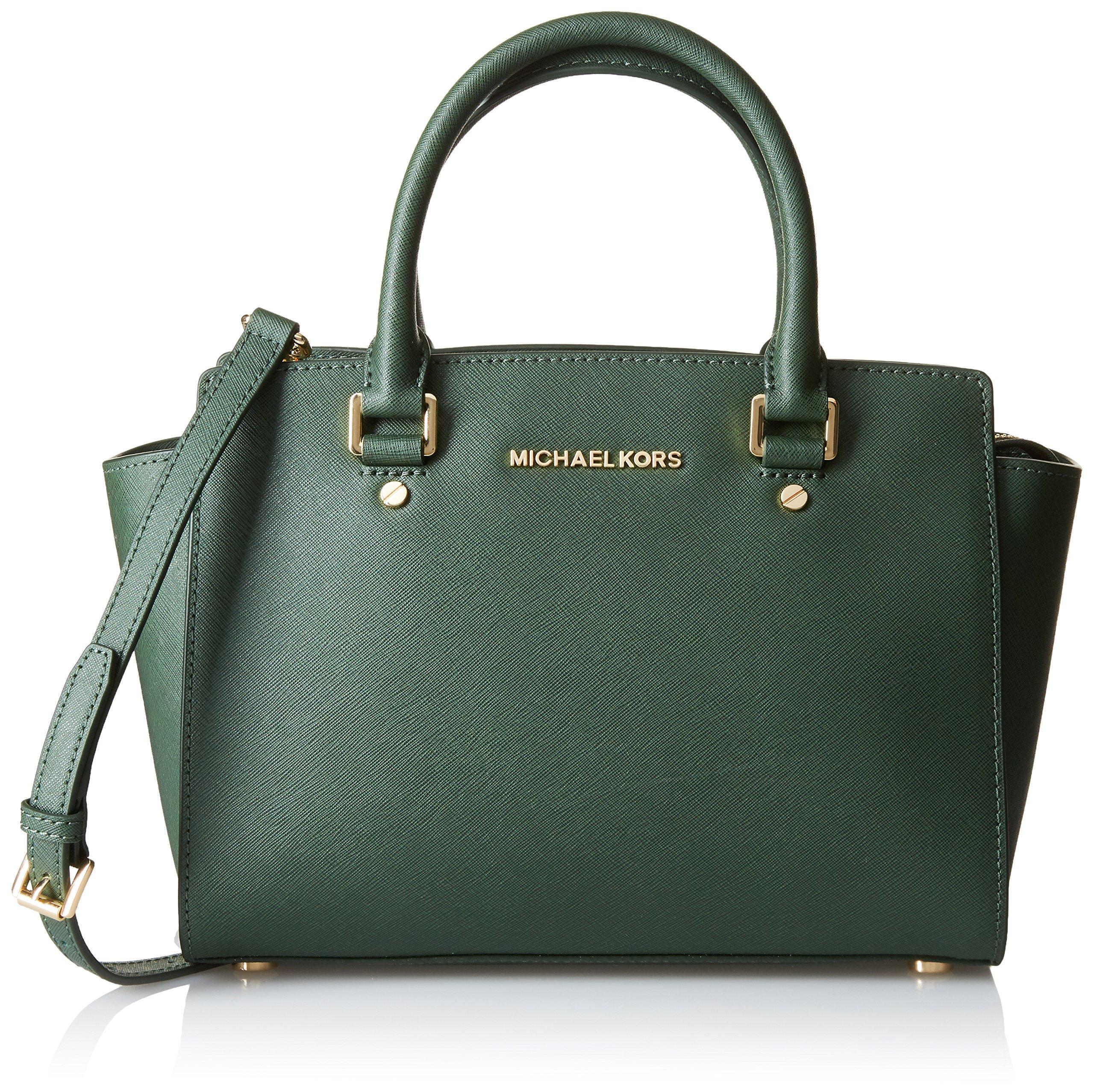 MICHAEL Michael Kors Women's Selma Medium Tz Satchel Moss Handbag