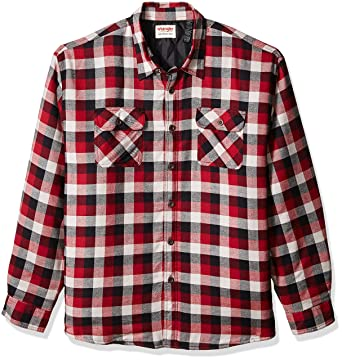 Amazon.com: Wrangler Men's Big and Tall Authentics Quilted Lined ... : quilted lined flannel shirt - Adamdwight.com