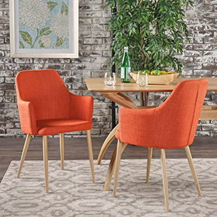 Serra Mid Century Modern Muted Orange Fabric Dining Chair With Light Brown  Wood Finished Metal Legs