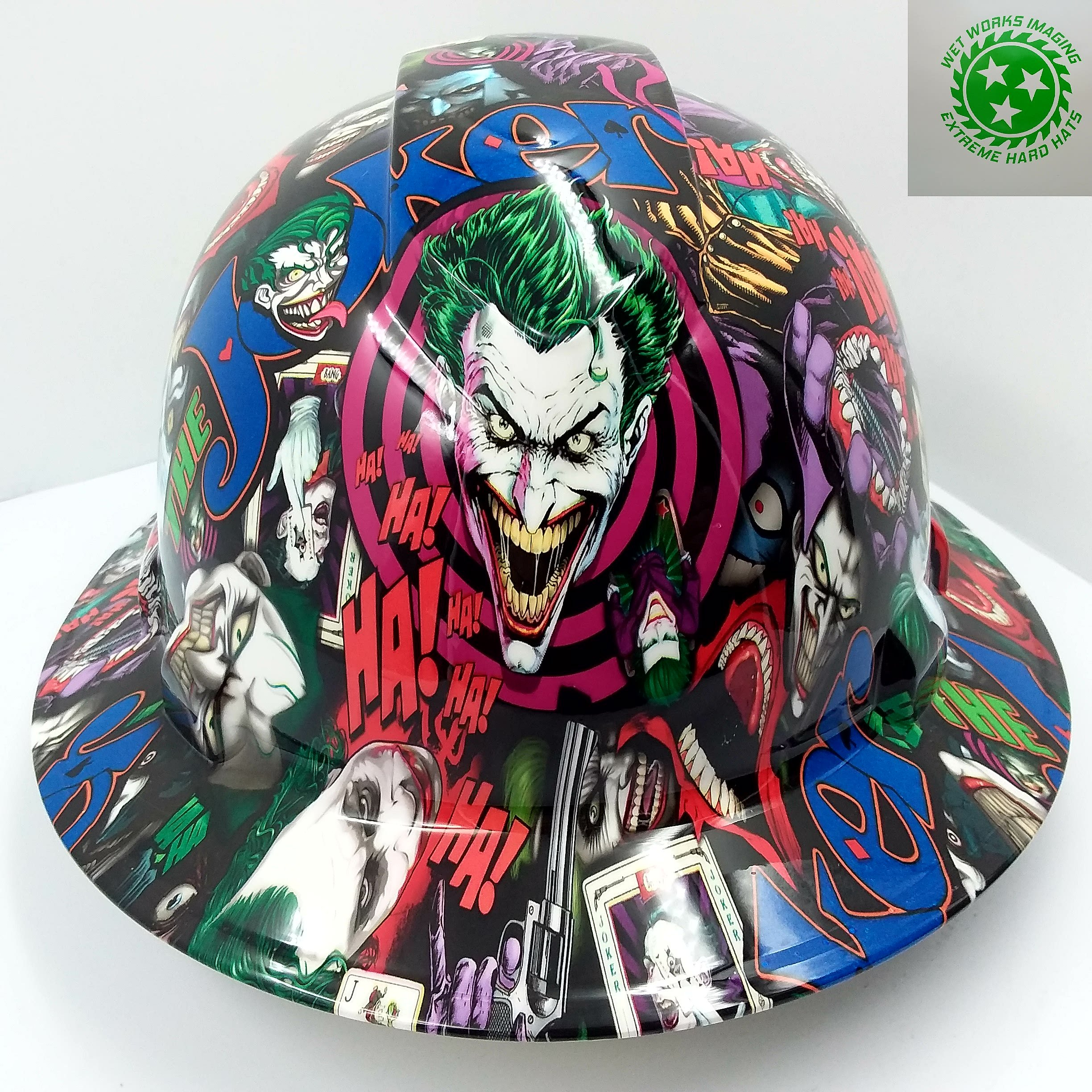 Wet Works Imaging Customized Pyramex Full Brim Full Color Joker Hard HAT with Ratcheting Suspension by Wet Works Imaging