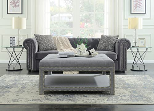 Iconic Home Bina Coffee Table Ottoman 2-Layer Polished Nailhead Tufted Linen Bench, Grey