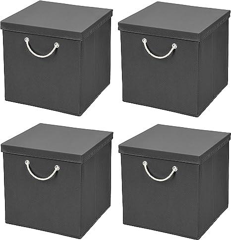 Caja de almacenaje, 30 x 30 x 30 cm, con tapa, gris oscuro, 4 unidades: Amazon.es: Hogar