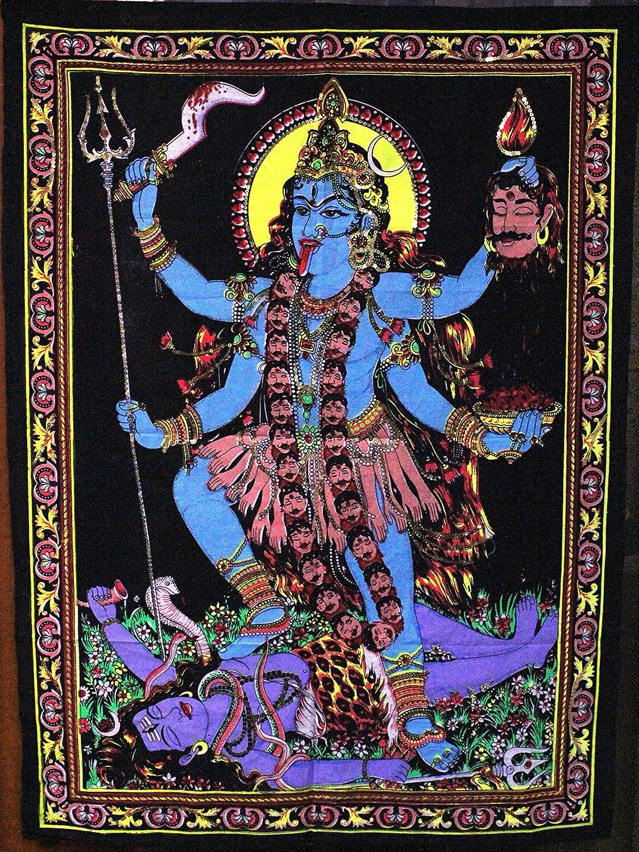 Huge Cotton Fabric Goddess Kali 43 X 30 Tapestry