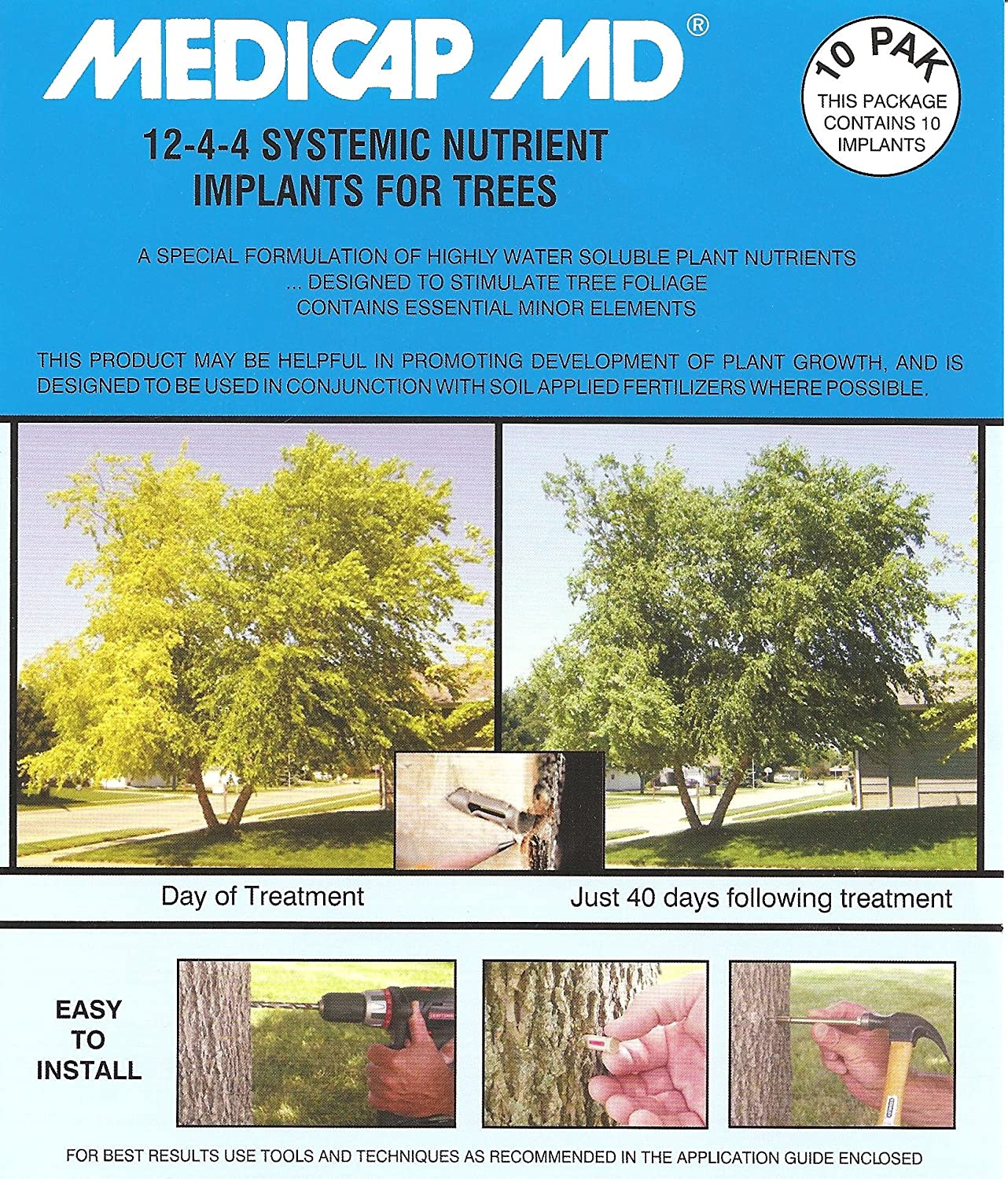 Medicap 10-Pack MD Systemic 12-4-4 Tree Food Implants 3//8-Inch