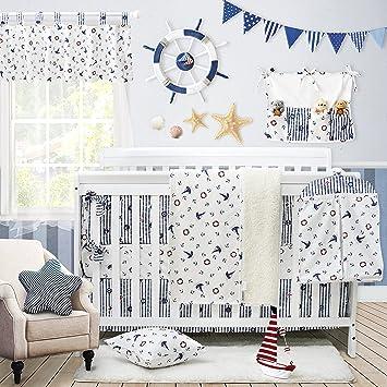 Superbe Amazon.com : Nautical Baby Bedding Set For Boys Sail Away Ocean Anchor  Printed Nursery Crib Bedding Set With Bumper Navy And White By Brandream,  ...
