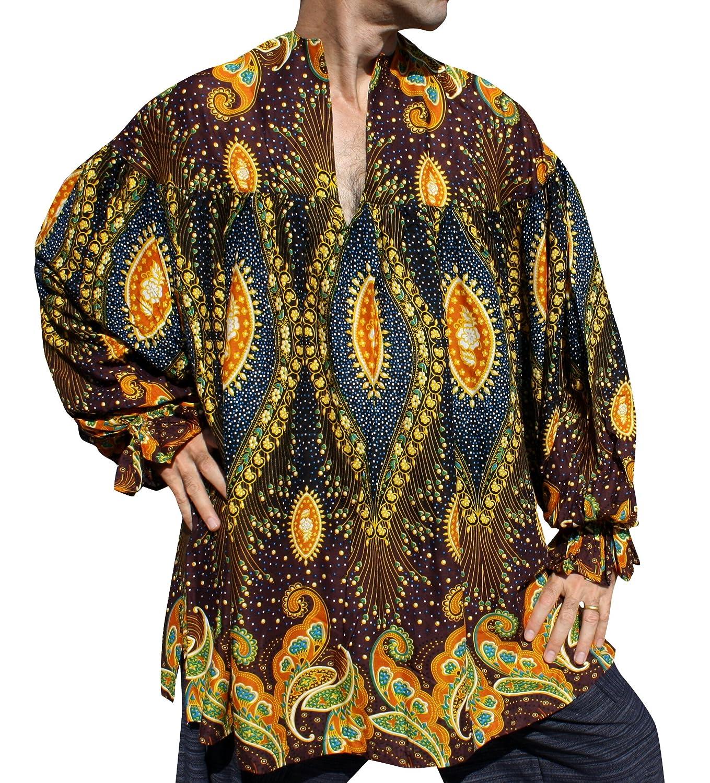RaanPahMuang Medieval African Theater Courtesans Shirt Rayon Angelina Dashiki Art