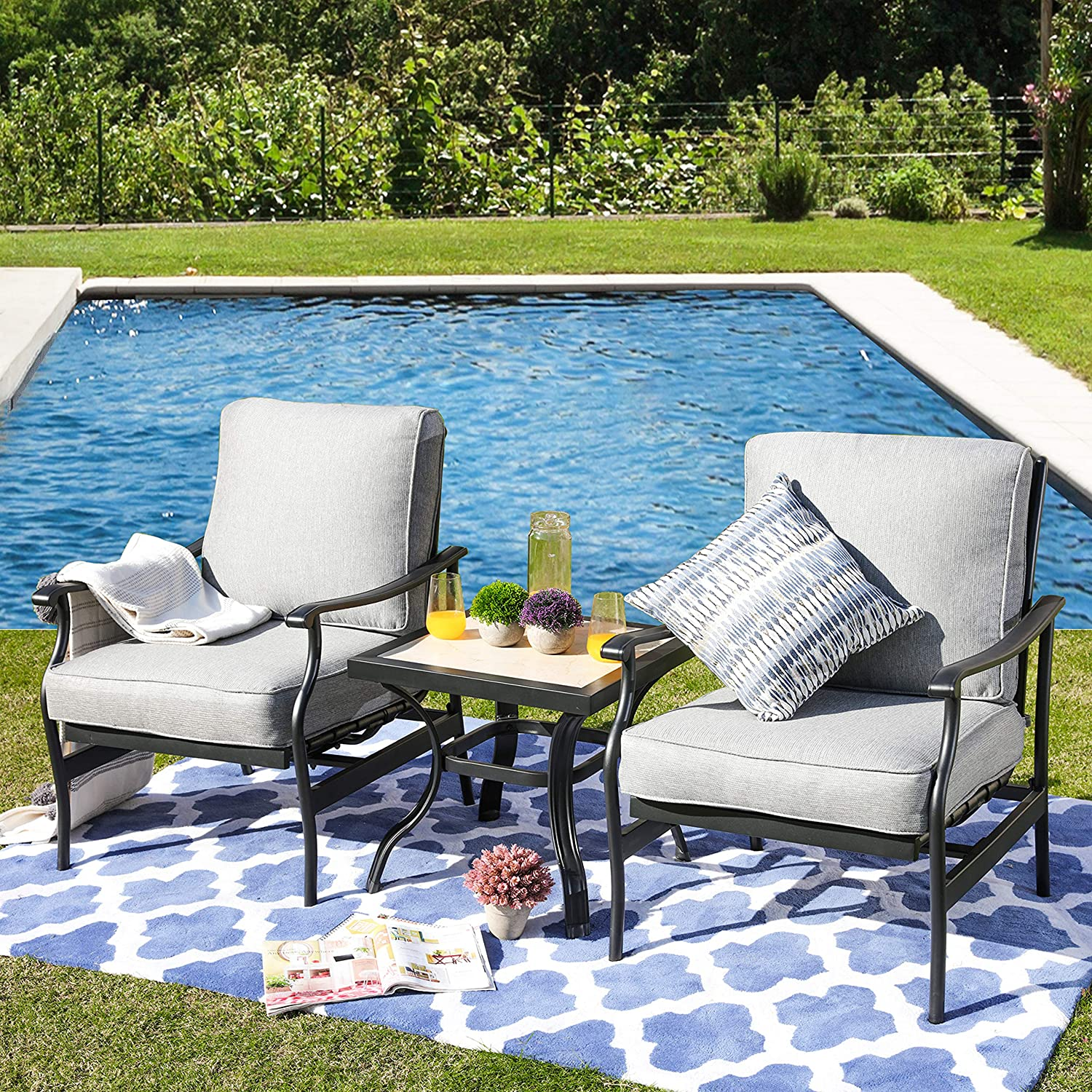 LOKATSE HOME 3 Pcs Outdoor Conversation Furniture Patio Bistro Set Modern Metal Chair with Cushion & Square Coffee Table, Grey
