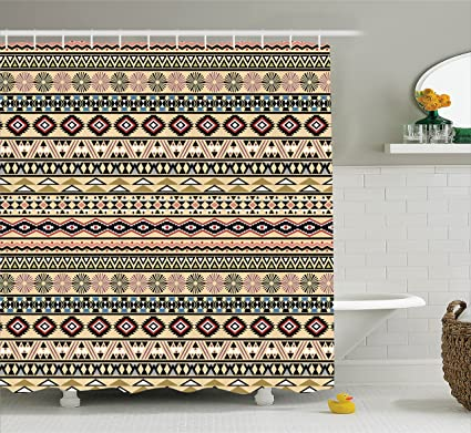 086694451e Ambesonne Native American Decor Collection, Traditional South American  Culture Aztek Tribal Print in Retro Soft Colors Native Art, Polyester  Fabric ...