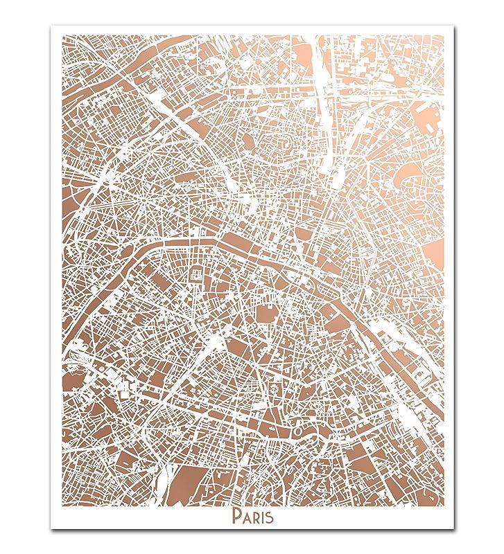 Paris Map Map Rose Gold Foil Print