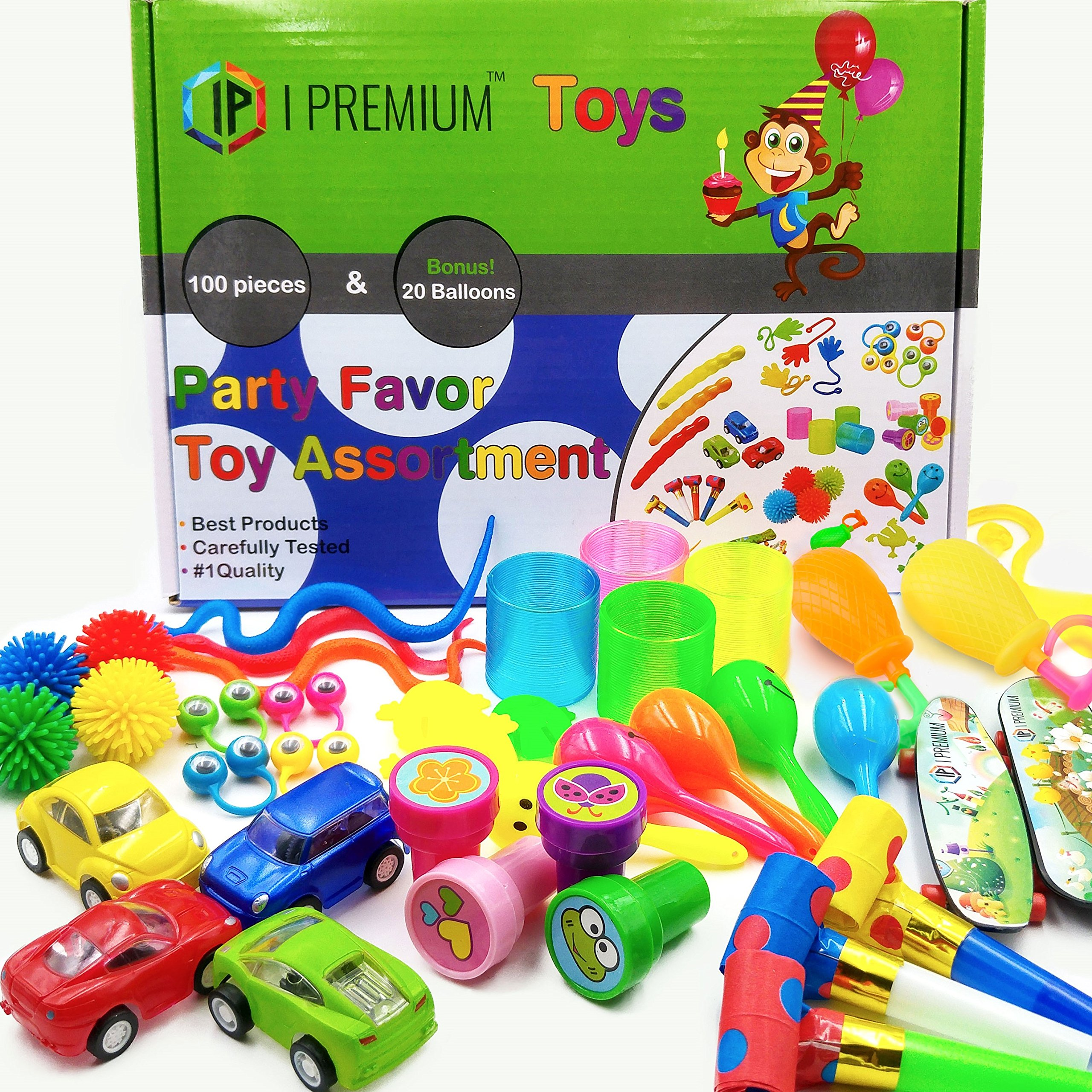 I Premium Party Favor Toy Assortment In Big 120 Pack. Party Favors Kids. Birthday Party , Classroom Rewards, Carnival, Prizes, Pinata Filler, Bulk Toys, Treasure Box, Goodie Bag Fillers