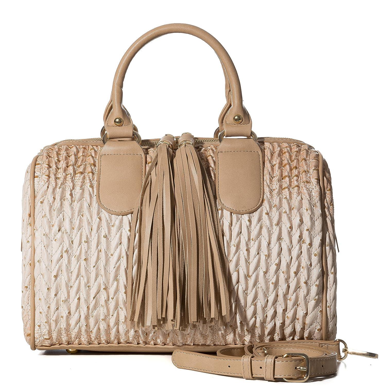 fbf80cb8bbca6f Handbag Republic Womens Vegan PU Leather Top Handle Handbag Tube Satchel  Style Two Tassel Zipper Closure (Beige): Handbags: Amazon.com
