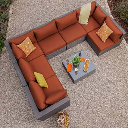Superb Royal Garden Becket 8 Piece Outdoor Wicker Sectional Set Patio Sectional Sofa Conversation Set Cushions Aluminum Frame Alphanode Cool Chair Designs And Ideas Alphanodeonline