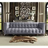 Iconic Home Capone Modern Biscuit Tufted Smoke Linen Sofa with Silver Tone Metal Y-Legs