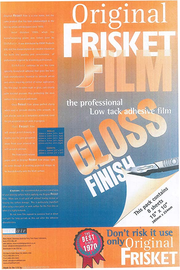 254mm x 3.66m Original Frisket Airbrushing Masking Film Matt frisk film