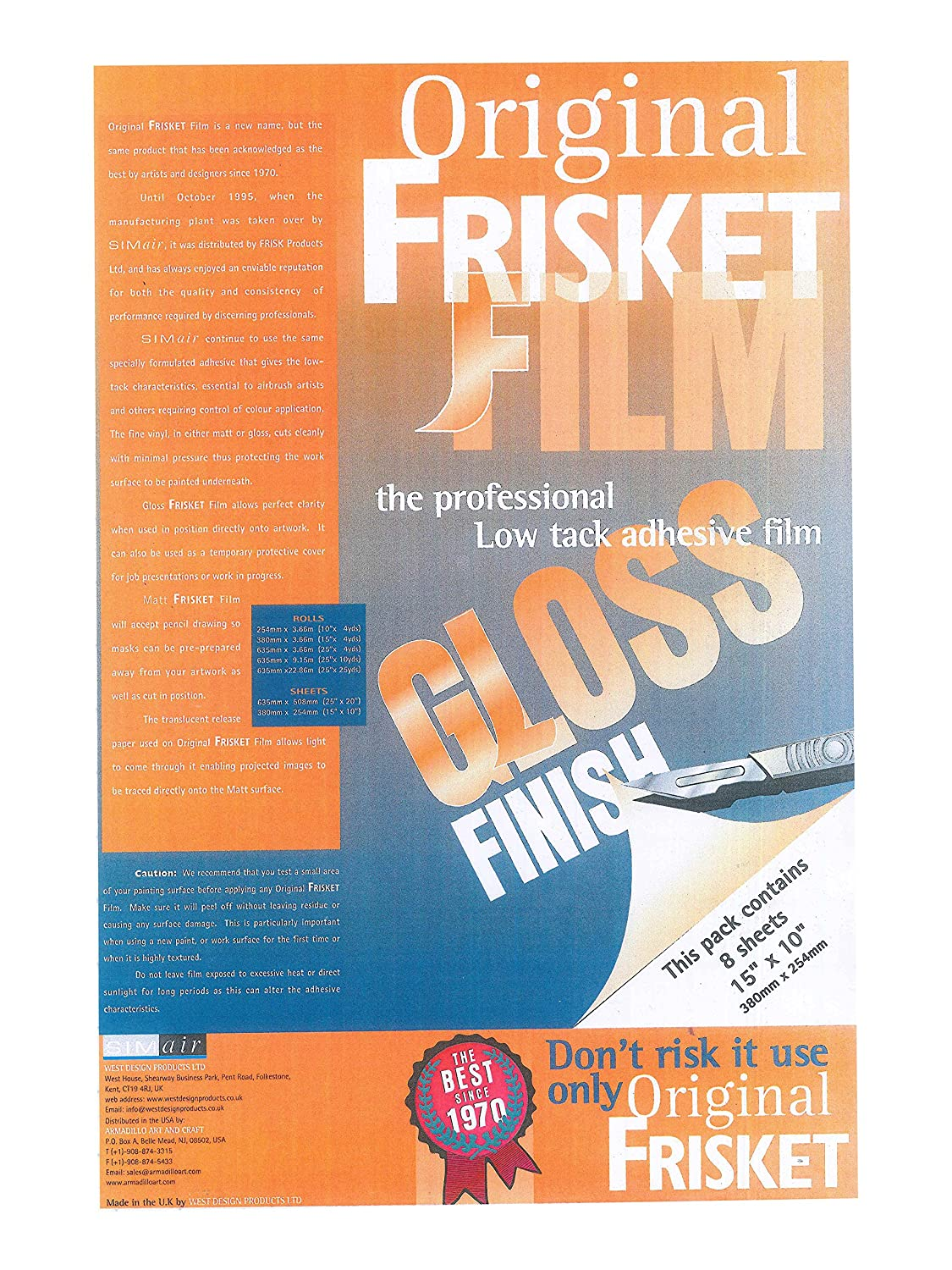 Original Frisket 15-Inch by 10-Inch Gloss Masking Sheets, 8-Pack Armadillo Art & Craft 52708