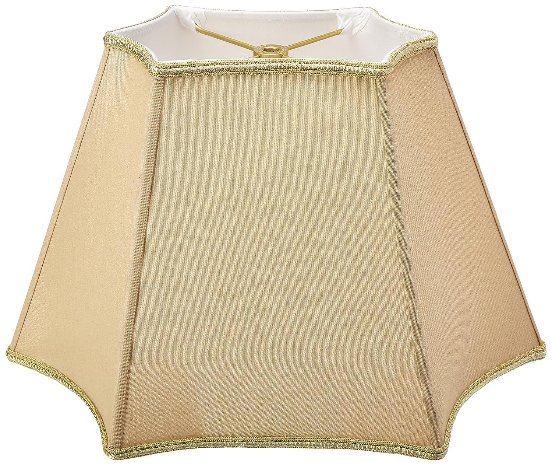 Beige, Royal Designs Rectangle Curved Inverted Corner Designer Lamp Shade x x 11 16 x 11 9 x 5.5