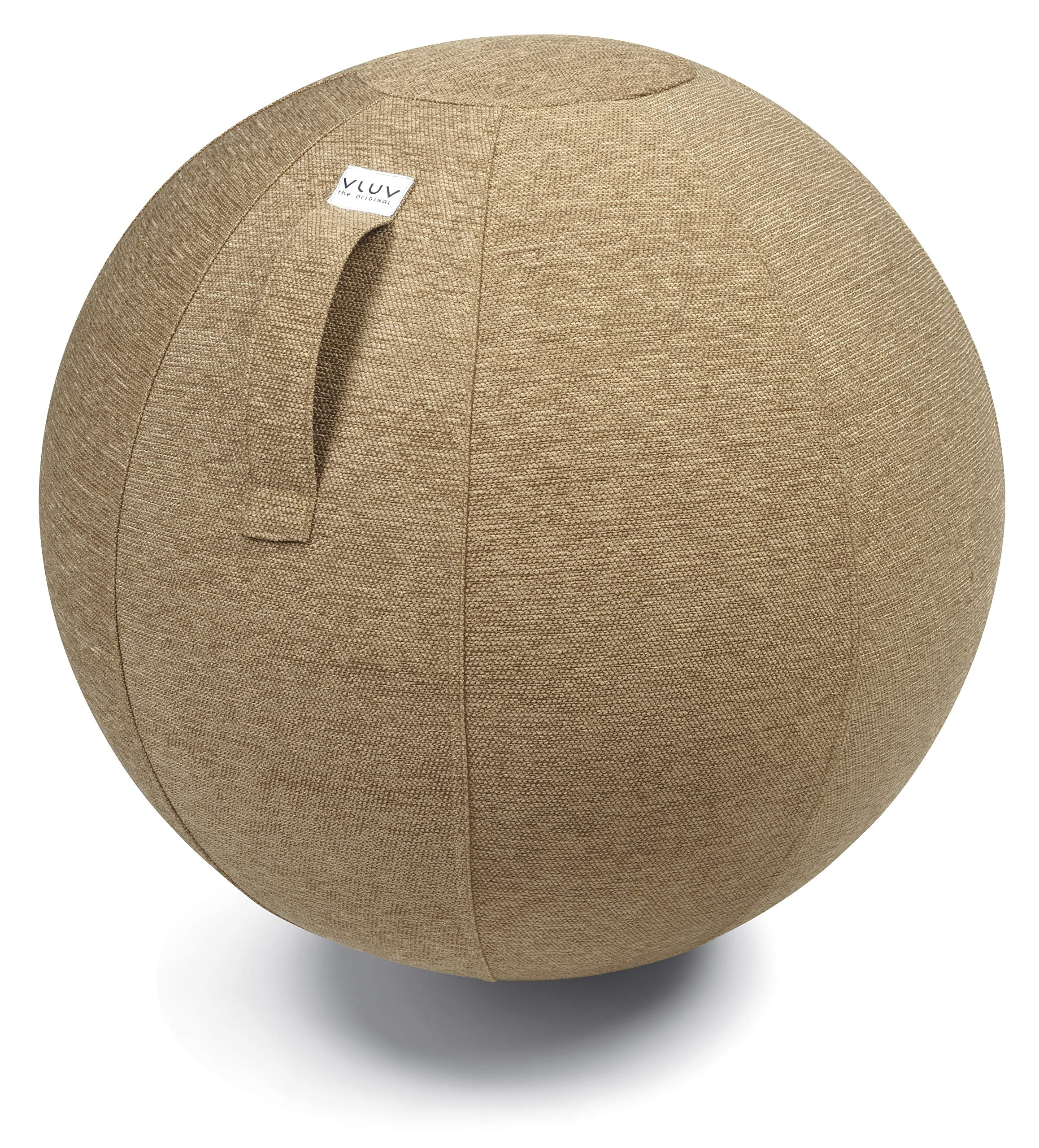 VLUV STOV Premium Quality Self-Standing Sitting Ball with Handle - Home or Office Chair and Exercise Ball for Yoga, Back Stretching, or Gym- Upholstery Fabric Stability Ball (Macchiato, 25.6'')