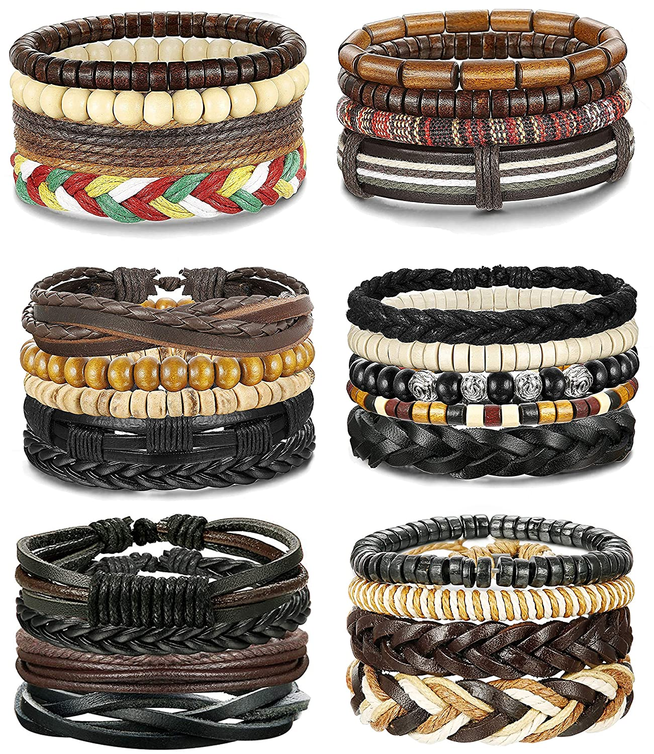FIBO STEEL 25-26 Pcs Braided Leather Bracelets for Men Women Cool Wrist Cuff Bracelet,Adjustable FBB-PSL-25