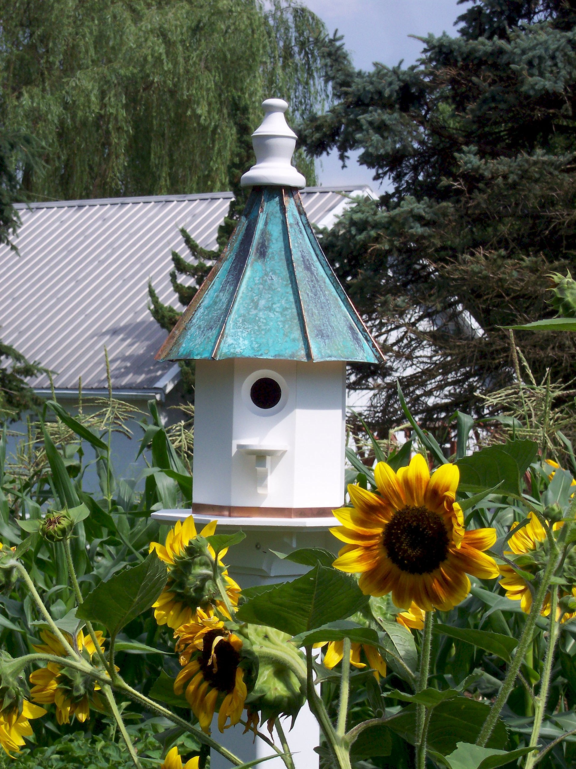 Woodpecker Birdhouse with Curved Patina Copper Roof