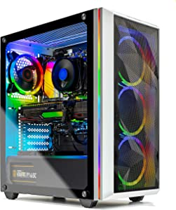 Skytech Chronos Gaming PC Desktop - AMD Ryzen 5 5600X 3.7GHz, AMD 6800 16G GDDR6, 16GB DDR4 3200, 1TB NVMe SSD, B550 Motherboard, 650W Gold PSU, AC WiFi, Windows 10 Home 64-bit