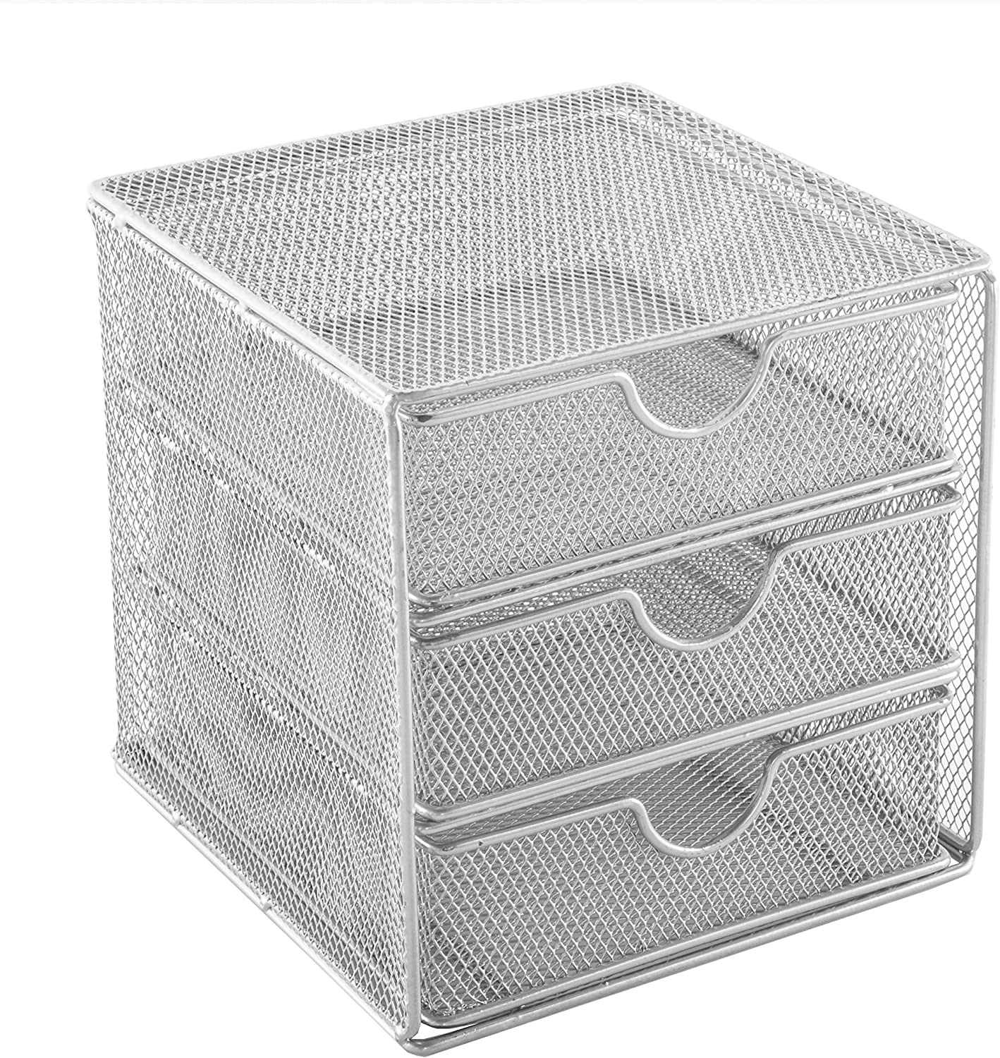Osco Sm3ds Slv Small Wire Mesh 3 Drawer Chest Silver Office Products