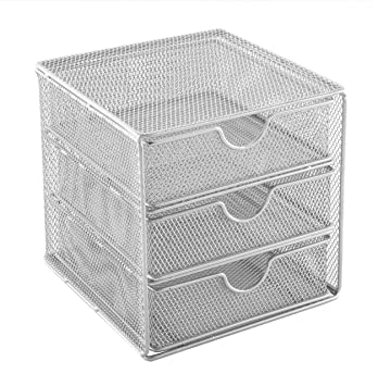 OSCO SM3DS-SLV Small Wire Mesh 3 Drawer Chest - Silver: Amazon.co.uk ...