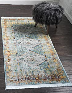 Unique Loom Baracoa Collection Bright Tones Vintage Traditional Light Blue Runner Rug (2' 7 x 10' 0)
