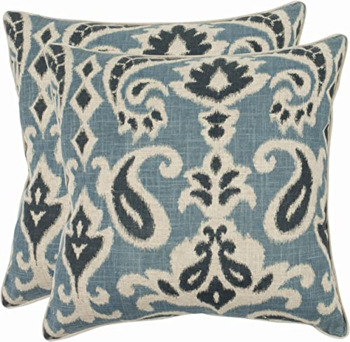 Safavieh Pillow Collection 22-Inch Paisley Pillow, Blue, Set of 2