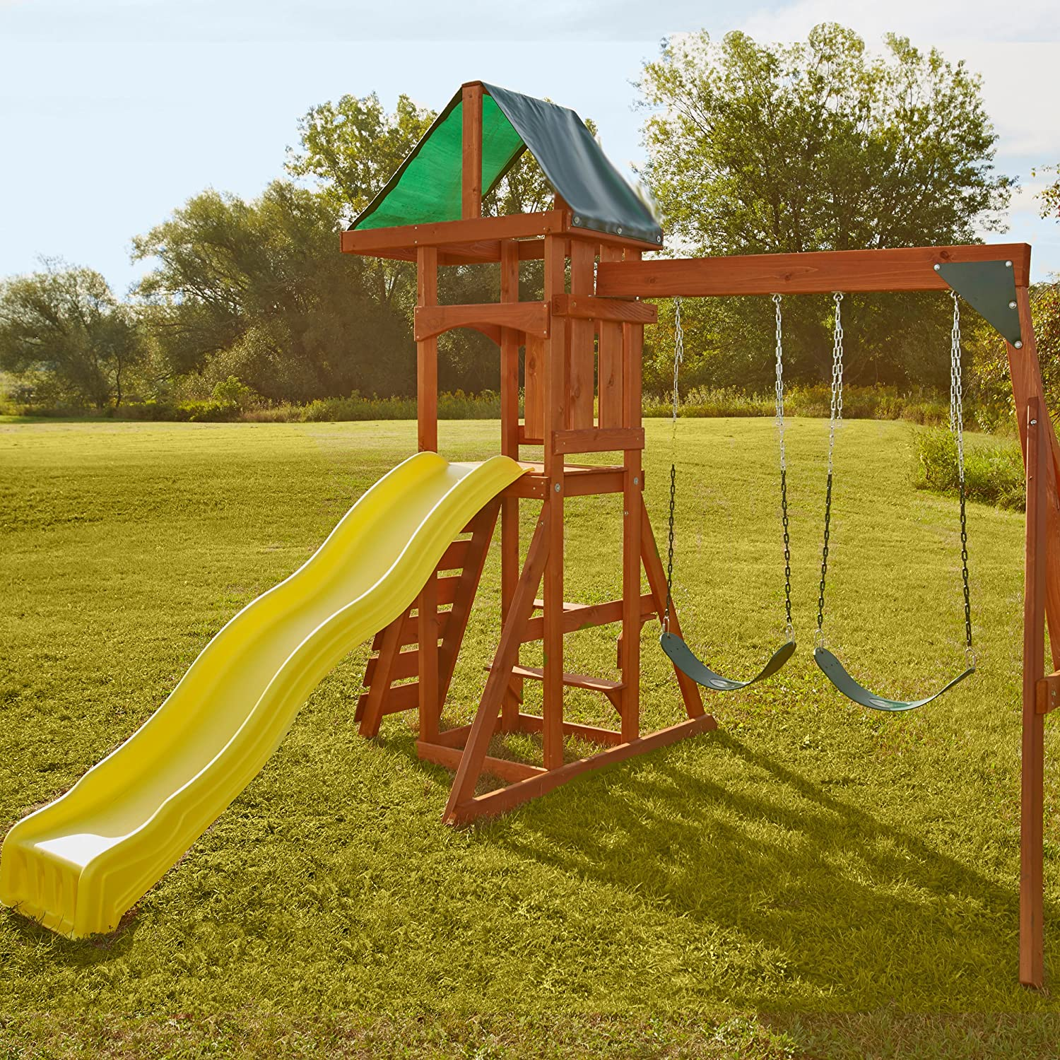 Amazon Swing N Slide Scrambler Playset with Two Swings Slide