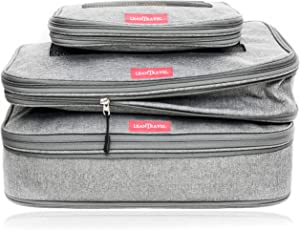 LeanTravel Compression Packing Cubes Luggage Organizers for Travel with Double Zipper - Set of 3 (Grey)