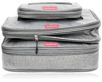 LeanTravel Bolsas Organizadoras de Equipaje con Compresión Extra/Doble Cremallera / (Juego de 3 Bolsas)