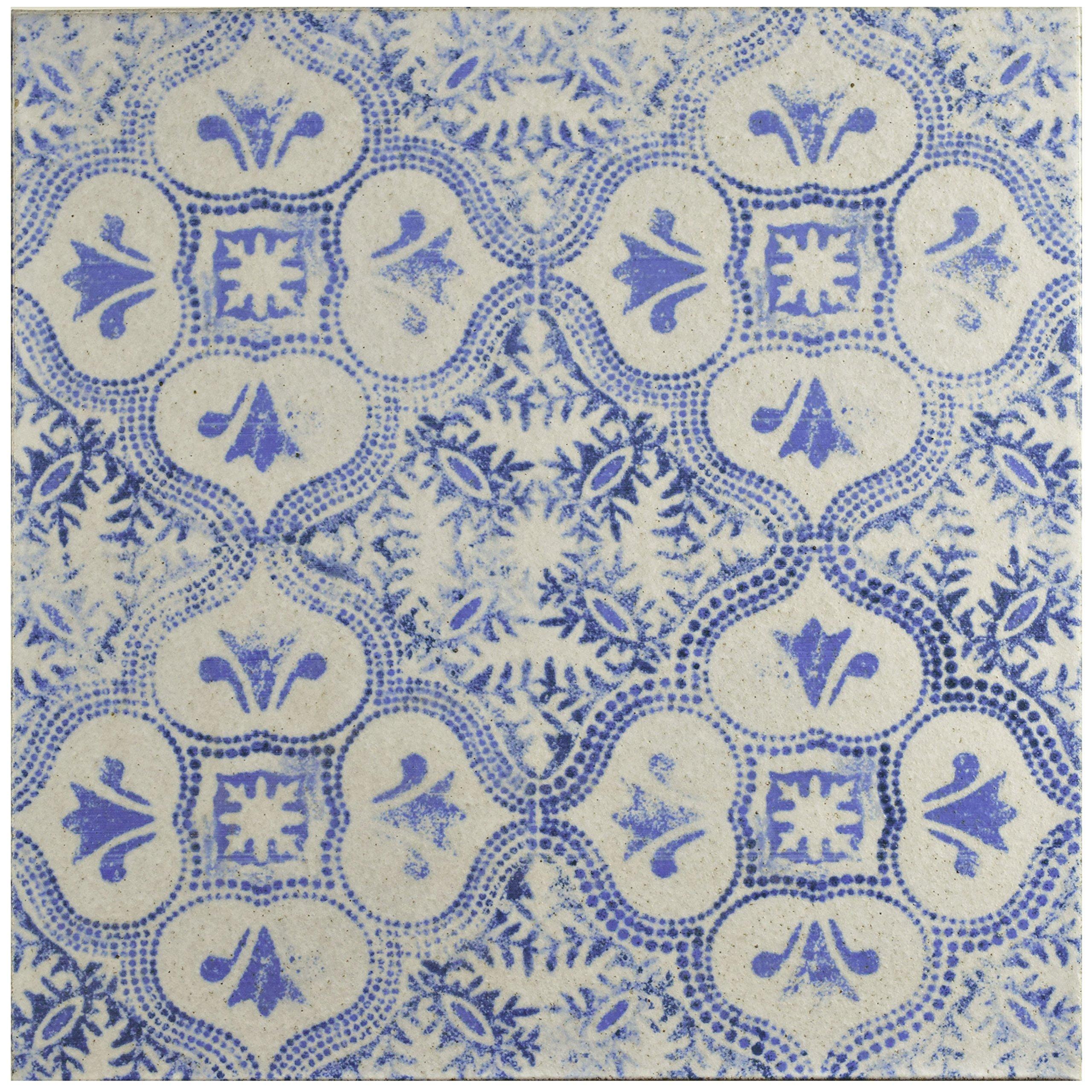 SomerTile FGAKAL3 Carriere Quarry Floor & Wall Tile, 12.75'' x 12.75'', Alcazar Helios,,, Blue, White