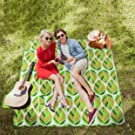 WolfWise 200x200cm XXL Picnic Blanket Extra Large Fleece Beach Mat with Waterproof Backing Anti Sand, Green Leaves