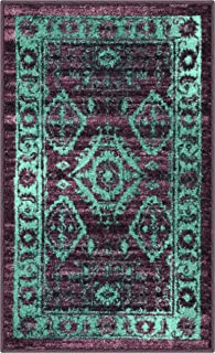 product image for Maples Rugs Georgina Traditional Kitchen Non Skid Accent Area Rug [Made in USA], Winberry/Teal, 1'8 x 2'10