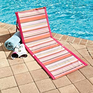 The Lakeside Collection Striped Beach Lounger Chair - Padded Folding Mat - Pink/Orange