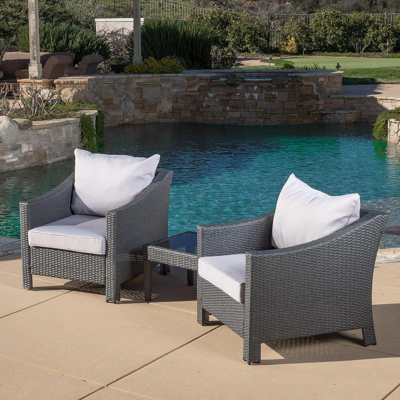 Amazon com caspian 3 piece grey outdoor wicker furniture chat set garden outdoor