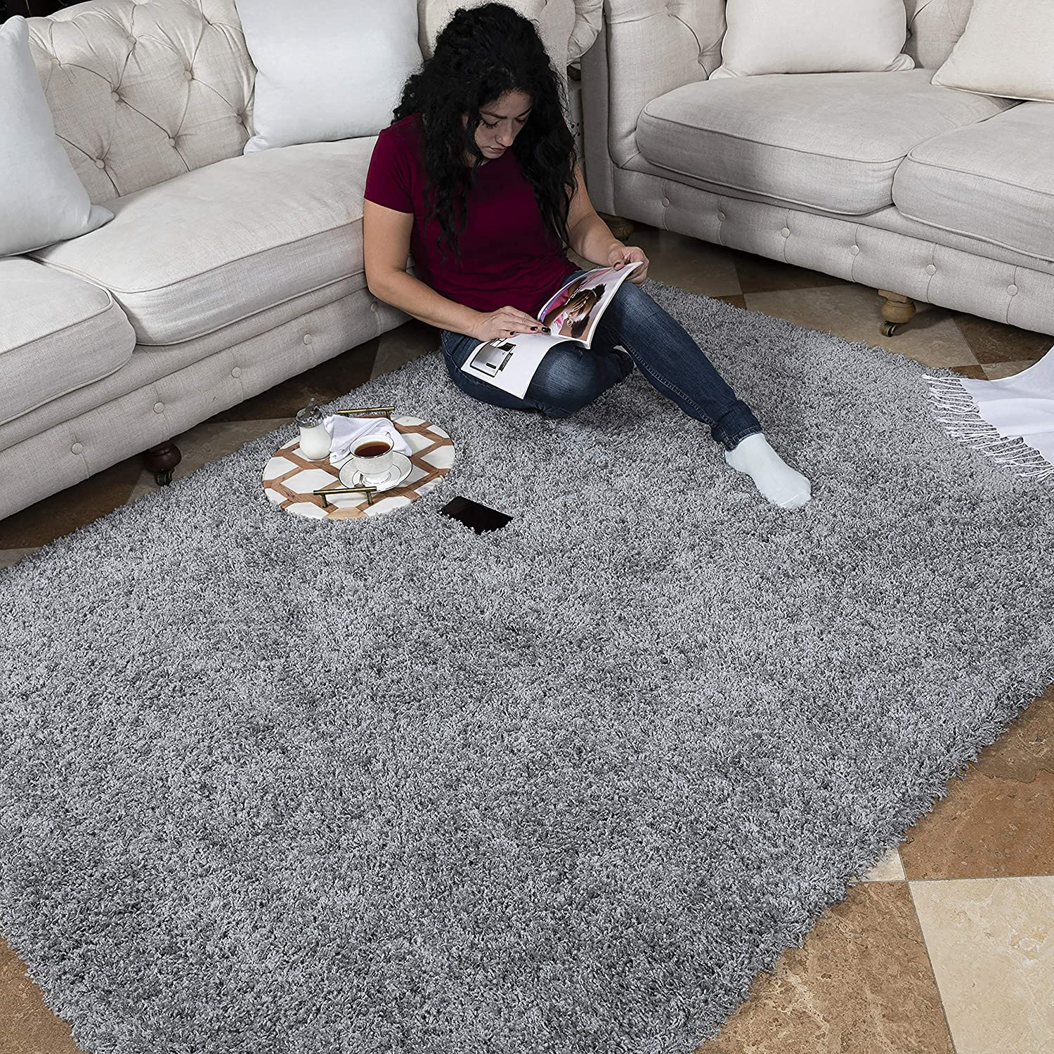 Ottomanson Cozy Color Solid Contemporary Living and Bedroom Soft Shag Area Rug