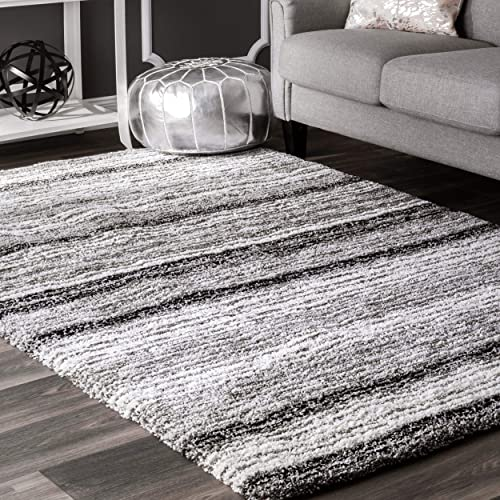 nuLOOM Classie Hand Tufted Shag Rug, 5 x 8 , Grey, Gray Multi