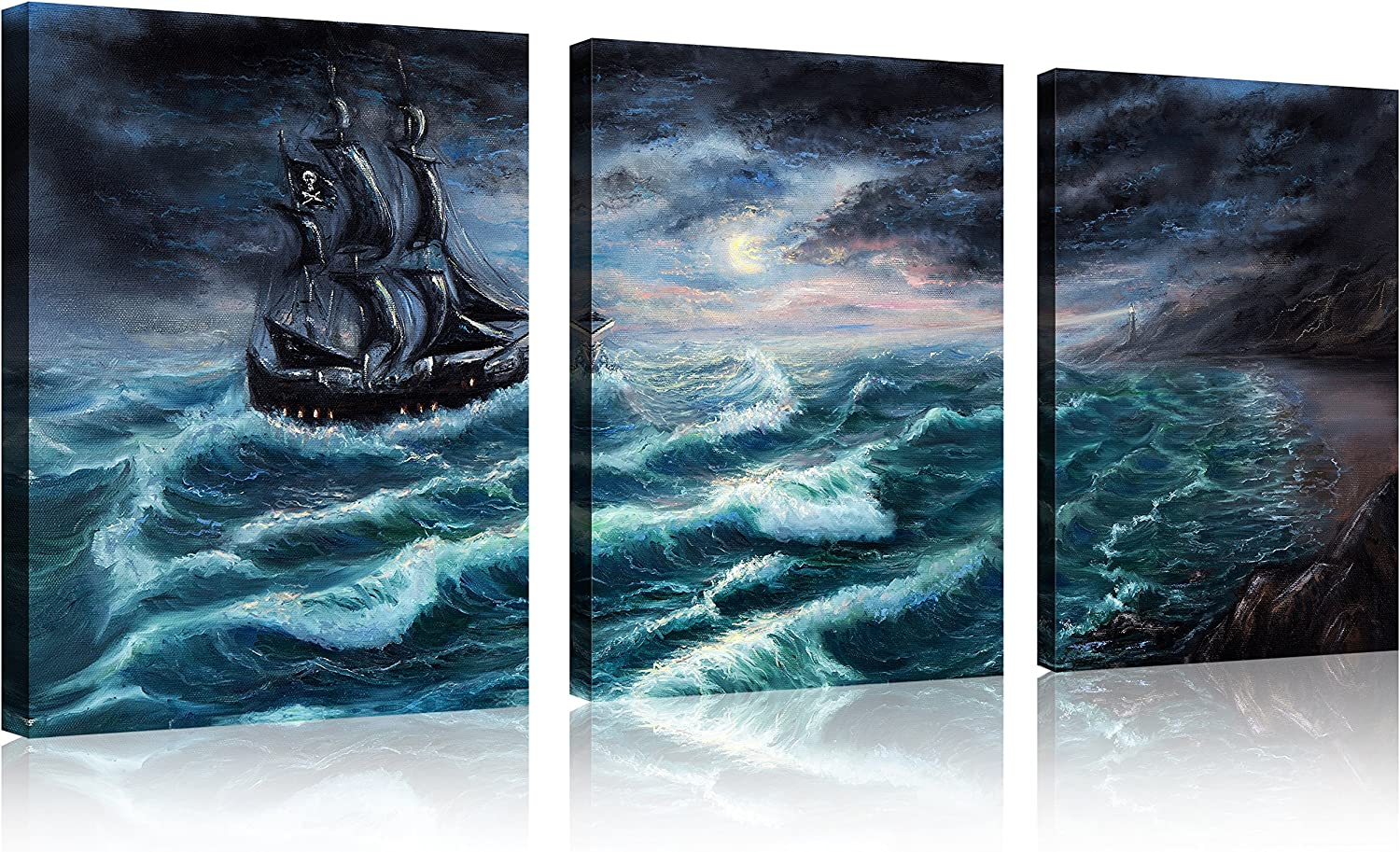 """QICAI 3 Panel Pirate Ship Canvas Print 12""""x16"""" Pirate Canvas Pirate Canvas Art Sailboat Pictures for Home Decor Wave Sailboat Wall Art Seascape the Picture for Home Decor Decoration, Ready to Hang"""