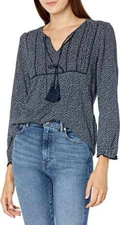 Lucky Brand Women's Long Sleeve V Neck Printed Peasant Top