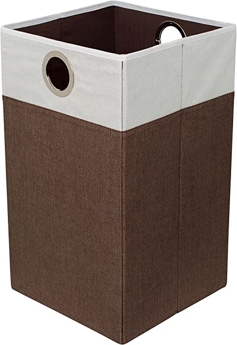 BIRDROCK HOME Folding Cloth Laundry Hamper with Handles - Dirty Clothes Sorter - Easy Storage - Collapsible - Brown and White