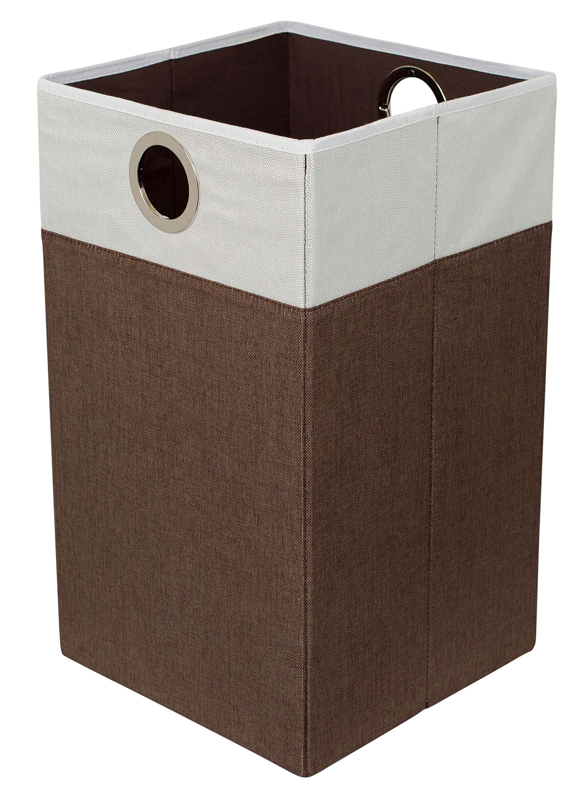 BirdRock Home Folding Cloth Laundry Hamper with Handles | Dirty Clothes Sorter | Easy Storage | Collapsible | Brown and White