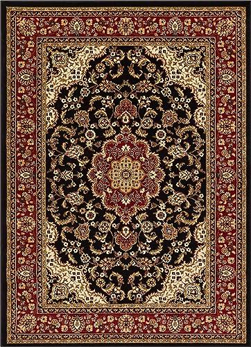 Well Woven Barclay Medallion Kashan Black Traditional Area Rug 5 3 X 7 3