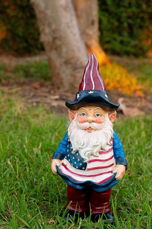 Alpine Americana Gnome with Flag Apron Bird Feeder, 12 Inch Tall