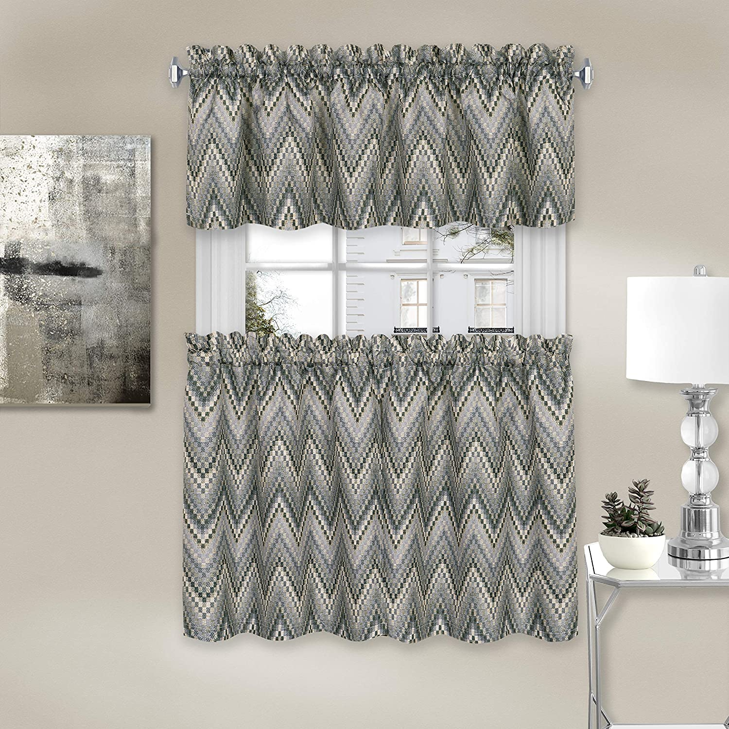 Achim Home Furnishings, Charcoal Avery Window Curtain Tier Pair and Valance Set, 58