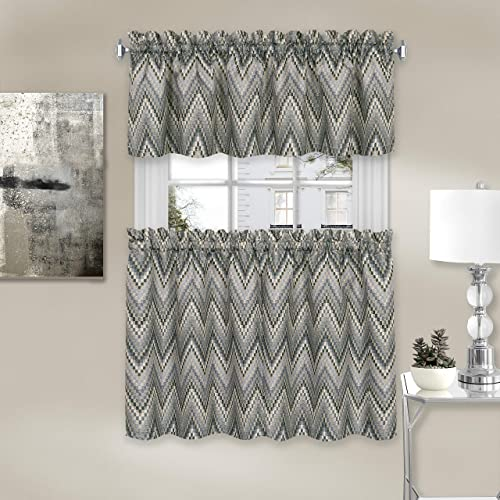 Achim Home Furnishings, Charcoal Avery Window Curtain Tier Pair and Valance Set, 58 x24