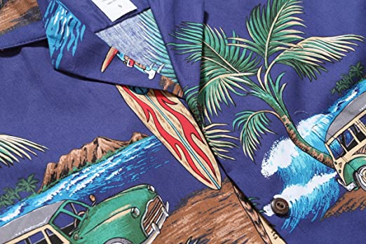 Made in Hawaii Herrenhemd Hawaii Aloha Hemd Palm Surfbrett