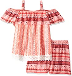 1d93f813bb3e My Michelle Girls  Big Printed Two Piece Set with Tassel Fringe Top