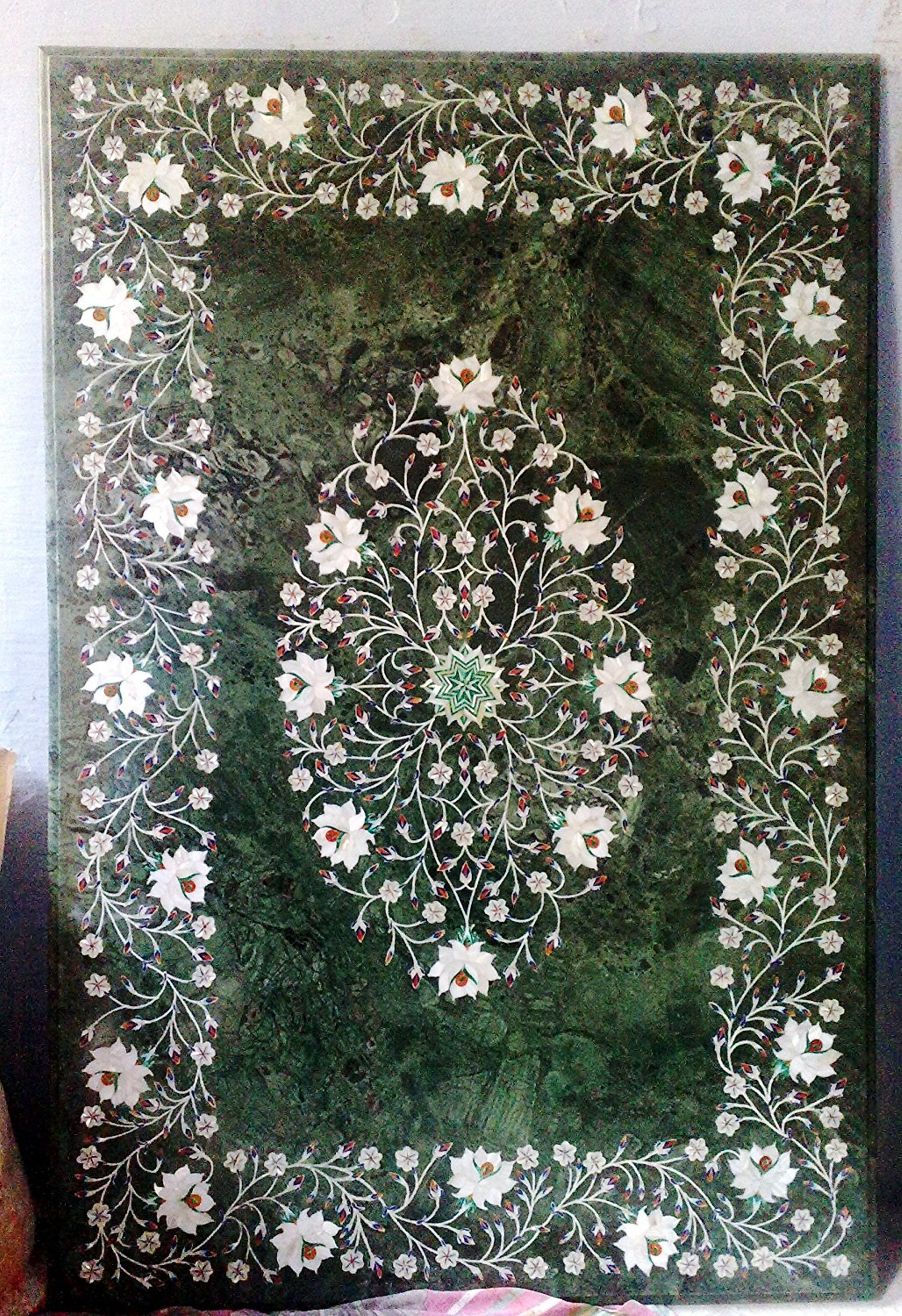 MS INTERNATIONAL 36'' X 24'' Rectangle Handcrafted Indian Marble Pietre Dure Pietra Dura Table Top (No Stand)